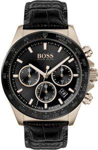Hugo Boss Chronograph Uhr Herren Hero 1513753 In Schwarz/Schwarz Leder/Edelstahl