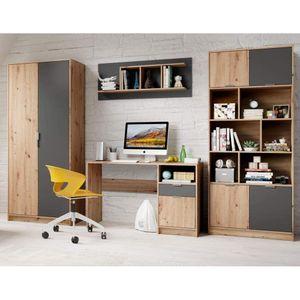 4tlg. Jugendzimmer Kinderzimmer Appartment Schrank Schreibtisch Regal Hängeregal KARLA Artisan Eiche Nb. / Graphit