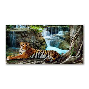 Tulup® Acrylglas - 120 x 60 cm - Wandkunst - Bild auf Plexiglas® Deko Wandbild hinter Kunststoff / Acrylglas Bild - Dekorative Wand für Küche & Wohnzimmer  - Tiere - Tiger Wasserfall - Braun