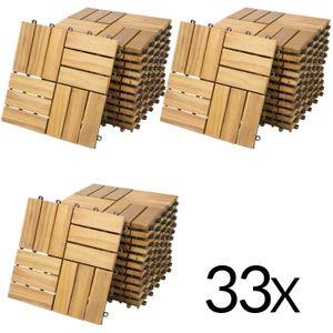 Casaria Holzfliesen FSC®-zertifiziertes Akazien- Eukalyptusholz Terrassenfliesen Klickfliesen 30x30cm Garten Balkon Außen, Variante:33x Akazie Mosaik