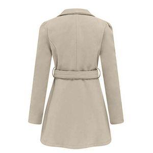 Damen Winter Revers Wolle Mantel Trench Jacke Langarm Mantel Outwear Größe:L,Farbe:Beige
