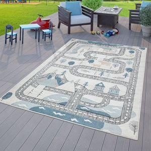 Kinderzimmer Outdoor Teppich Kinder Spielteppich Straßen Motiv Grau Beige, Größe:140x200 cm