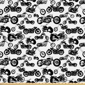 ABAKUHAUS Schwarz-Weiss Stoff als Meterware, Modelle von Motorrad, Microfaser Stoff für Dekoratives Basteln, 1M (160x100cm), Schwarz Weiss