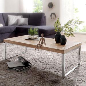 Couchtisch Massiv-Holz Akazie 120 cm breit Wohnzimmer-Tisch Design dunkel-braun Landhaus-Stil Beistelltisch B/H/T ca. 120/40/60cm