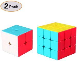 Zauberwürfel Set, Speed Cube 3x3 Stickerless,Speed Cube 2x2 Stickerless, 3D Puzzle Würfel Spielzeug für Kinder, 2 Pack