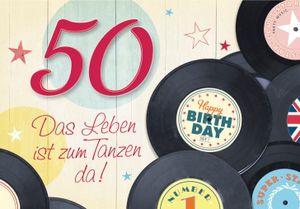 DeCoArt… SET 1 Geburtstagskarte 50 Geburtstag Happy Birthday Das Leben ist zum Tanzen da! und 1 Wunderkerze Kleeblatt grün