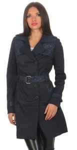 Damen Trenchcoat Mantel Parker Jacke, Dunkelblau XL