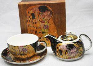 Set - Teekanne mit Teetasse und Untertasse Gustav Klimt - Kuss