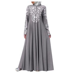 Frauen muslimisches Kleid Kaftan Arab Jilbab Abaya Islamische Spitze Nähen Maxikleid Größe:XXL,Farbe:Grau