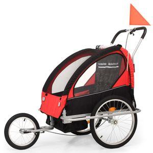 2-in-1 Kinder Fahrradanhänger & Kinderwagen Schwarz und Rot