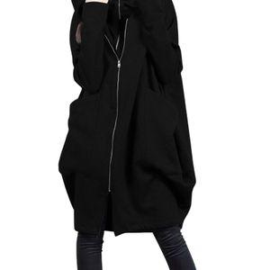 Damen Kapuzen-Taschenreißverschluss mittellang fälschen zwei lose Mäntel,Farbe: schwarz,Größe:5XL