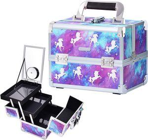 CYE Kosmetikkoffer Schminkkoffer Schmuckkoffer Etagenkoffer Multikoffer Friseurkoffer Schminkkoffer Schmuckkoffer mit Spiegel Violett Einhorn, 24x17x19cm