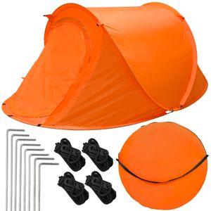 eyepower Wurfzelt BELLE 2 Personen Popup-Zelt | Campingzelt 245x145x100cm | Sekundenzelt mit Zubehör | Inkl. Tragetasche Spannseile Heringe | Automatik-Zelt in Orange