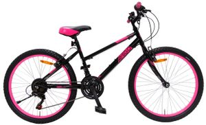 Amigo Power - Mountainbike 24 Zoll für Mädchen - geeignet ab 135 cm - mit Shimano 18-Gang und fahrradständer - Schwarz/Rosa