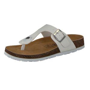 CAMPRELLA Damen Tieffußbett Pantolette Zehentrenner, Weiß, Größe:39, Farbe:Weiß