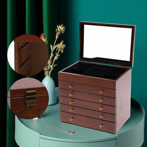 6 Schichten Schmuck Aufbewahrungsbox mit Spiegel und Schloss für Schmuck  Holz