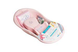 SET Babybadewanne mit Badewannensitz, Handtuch und Waschlappen 100% Baumwolle  , Motiv:Häschen - rosa, Ständer:Allein
