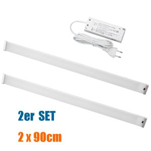 2er SET LED Unterbauleuchte mit berührungslos Sensor Schalter 90cm x2 für Küche, Arbeitsplatz, Trafo inkl.