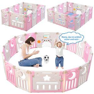 Dripex Laufgitter Laufstall Baby Absperrgitter 14-Paneele Schutzgitter Krabbelgitter für Kinder aus Kunststoff mit Tür und Spielzeugboard (Rosa-Weiß)