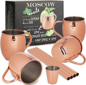ONVAYA® Moscow Mule Becher 4er Set   Kupferbecher für Cocktails   4 Kupfertassen mit 480ml Fassungsvermögen