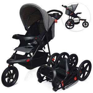 Dreirad Kinderwagen Klappbar, Jogger Buggy mit Liegefunktion, Sportwagen mit Sicherheitsgurt, Rückenlehne & Sonnenverdeck verstellbar, geeignet für Baby ab Geburt bis 36 Monaten(Grau)