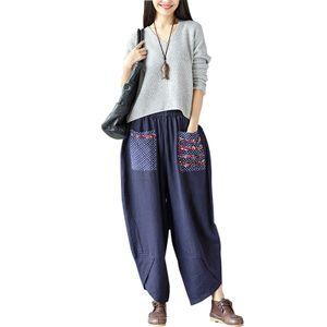 Vintage Frauen Ethnische Spleissen Haremhosen Elastische Taille Weite Hose Baggy Lose Baumwolle Leinenhose2XL