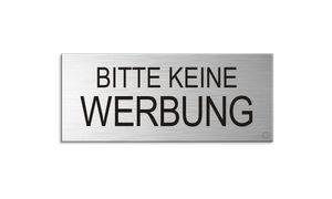 Schild Aufkleber -  Bitte keine Werbung  - Aluminium Vollmaterial -  Edelstahloptik 60x25 mm - selbstklebend