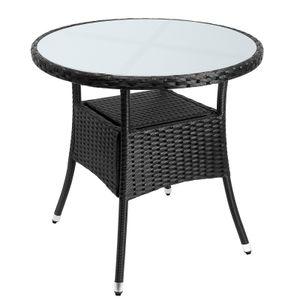 Casaria Poly Rattan Gartentisch Balkontisch Ø80 cm Rund Milchglas Tischplatte Beistelltisch Gartenmöbel Schwarz