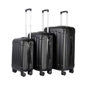 3er Kofferset Schwarz | Koffer Set Hartschalenkoffer | Reisekoffer Gepäck | Hartschalen Trolley Rollkoffer