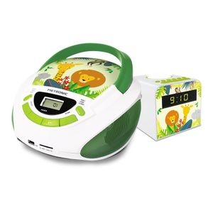 METRONIC Jungle 477296 Kinder Pack Boombox CD Player und Uhrenradio Wecker mit Nachtlicht