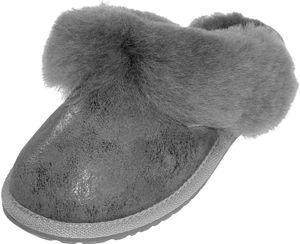 Extra dicke Lammfell Pantoffeln für Damen in 5 Farben, Farben:Antik Grau, Schuhgröße:40