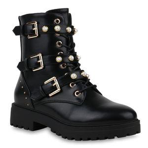 Mytrendshoe Damen Stiefeletten Stiefel Plateau Boots Zierperlen Nieten Schuhe 820482, Farbe: Schwarz Gold, Größe: 39
