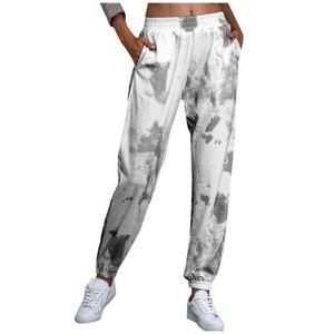Mode Frauen Elastic Waist Tie-Dye Print Lässige Haremshose Hose Lange Hose Größe:L,Farbe:Grau