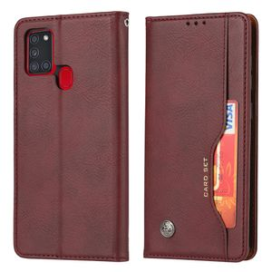 Galaxy A21S Hülle, LaimTop Premium Klappetui Brieftasche Ledertasche Schutzhülle mit Kartenfach und Standfunktion für Samsung Galaxy A21S Burgund