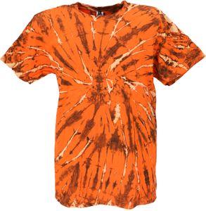 Batik T-Shirt, Herren Kurzarm Tie Dye Shirt - Orange, Baumwolle, Größe: XXL