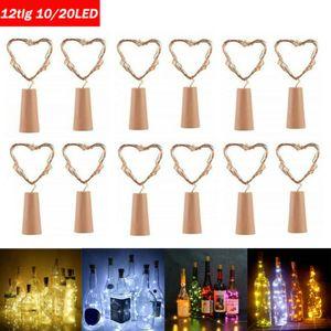 2M 20LED Flaschenlichterkette Glas Korken Licht Lichterkette mit Batterie für Party Deko Weiß