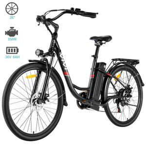 VIVI E-Bike & Pedelec, Elektro-Mountainbike, E-Trekkingrad, Elektrofahrrad, City E-Bike, LED Fahrradlicht, 350W Motor, 7-Gang-Getriebe, 36V 8AH Abnehmbarer Lithium Akku, Doppelscheibenbremse, 26 Zoll ,25+ Meilen, höhe und winkel des Fahrradlenkers einstellbar, für Herren Damen Unisex, schwarz