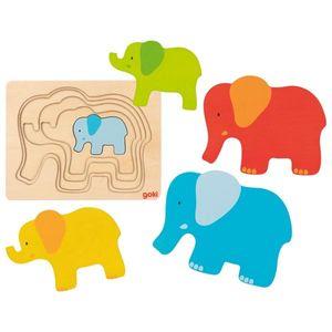 goki 57450 Schichtenpuzzle Elefant 17,5 x13,5 x 1,7 cm, Holz, 5 Schichten, 5 Teile, bunt