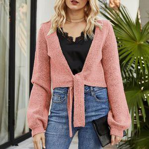 Damen Strickpullover Strickjacke Binde Saum Schal Laterne Langarm Soft Solid Crop Tops Slim Fit Mantel