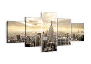 "Leinwandbild - 125x70 cm - ""New York aus grau gewebt""- Wandbilder - New York Stadt  - Arttor - EA125x70-2630"