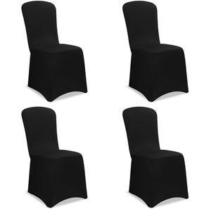 4x Stuhlhussen Stretch Stuhlbezug Universal Stuhl Bezug Hussen Set Weihnachten, Farbe:schwarz