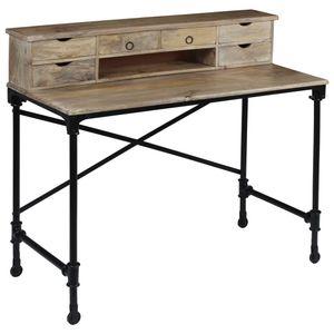 vidaXL Schreibtisch Mangoholz Massiv und Stahl 110 x 50 x 96 cm