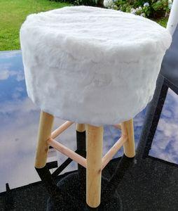 WEISS Fellhocker aus Holz  Ø 30 x 42 cm Sitzhocker