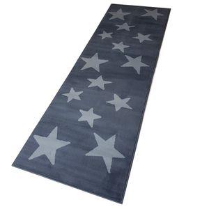 Moderner Läufer Teppich Brücke Teppichläufer Sterne Stars verschiedene Farben ca. 80x250 cm, Größe:80x250 cm, Farbe:dunkelgrau/grau