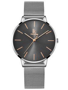 Alienwork Damen-Armbanduhr Quarz silber mit Metall Mesh Armband Edelstahl grau Ultra-flach dŸnn