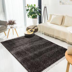 Teppich Wohnzimmer Kinderzimmer Hochflor Shaggy Modern mit Fransen, Farbe:Anthrazit, Größe:160 x 230 cm