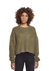 Urban Classics Damen Pullover Ladies Wide Oversize Sweater Olive-XL