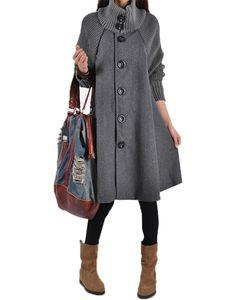 Frauen Wollmantel Trenchcoat Parka Jacke Winter High Collar Mantel Outwear Tops,Farbe:Grau,Größe:3XL