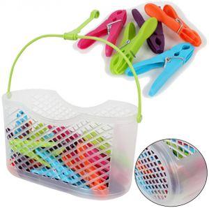 30 Wäscheklammern im Korb Klammern Sockenklammern Wäscheklammernkorb Klammerkorb