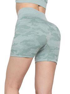 Sexydance Lässige Workout-Camouflage-Stitching-Yoga-Shorts Für Frauen Mit Hoher Taille,Farbe: Grün,Größe:XL